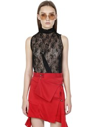 Jinnnn Sleeveless Flocked Stretch Lace Top