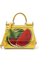 Dolce And Gabbana Sicily Mini Printed Textured Leather Shoulder Bag Yellow