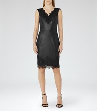 Reiss Etty Womens Leather And Lace Dress In Black