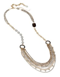 Betsey Johnson Throwback Layered Chain Long Necklace Black