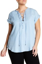 Want And Need Lace Up Chambray Shirt Plus Size Blue