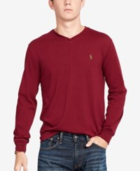 Polo Ralph Lauren Men's V Neck Long Sleeve Shirt Classic Wine