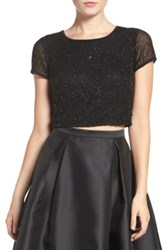 Adrianna Papell Beaded Crop Top Black