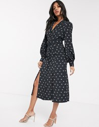 Fashion Union Shirt Dress With Belted Waist In Allover Ditsy Floral Black