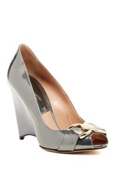 Furla Meridienne Peep Toe Zeppa Wedge Pump Metallic