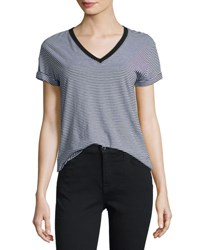 Alexander Wang Striped Jersey V Neck Tee Gray Black Gray Black