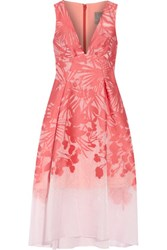Lela Rose Floral Organza Jacquard Dress Coral