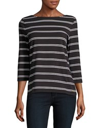 Imnyc Isaac Mizrahi Boatneck Stretch Cotton Top Black White