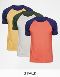 Asos T Shirt With Contrast Raglan Sleeves 3 Pack Save 21 Multi