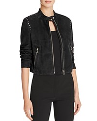 Theory Studded Suede Moto Jacket Black