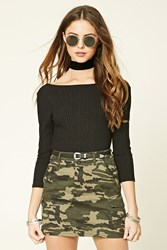 Forever 21 Camo Print Mini Skirt Olive Brown