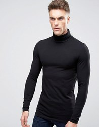 Asos Longline Muscle Long Sleeve T Shirt With Roll Neck Black
