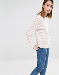 Selected Nive Stripe Knitted Jumper In Pink Pink And Tan Multi