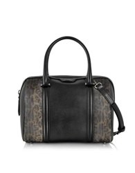 Class Roberto Cavalli Signature Collection Black And Leopard Print Medium Bowling Bag
