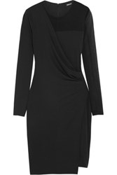 Dkny Mesh Paneled Satin Jersey Mini Dress Black