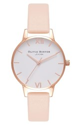 Olivia Burton Women's Midi Dial Leather Strap Watch 30Mm Nude Peach White Rose Gold