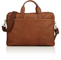 Barneys New York Men's Top Zip Briefcase Tan