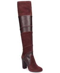 Bar Iii Naomi Patchwork Over The Knee Boots Only At Macy's Women's Shoes Wine