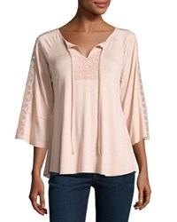 Neiman Marcus Lace Trim Relaxed Peasant Top Black