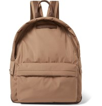 Brunello Cucinelli Leather Trimmed Nylon Backpack Brown