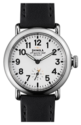 Shinola 'The Runwell' Leather Strap Watch 36Mm Black White