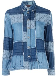 Jean Paul Gaultier Vintage Patchwork Denim Shirt Blue