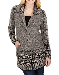 Lucky Brand Border Knitted Cardigan Natural