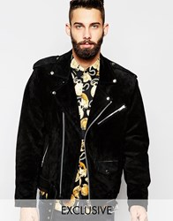 Reclaimed Vintage Suede Biker Jacket Black