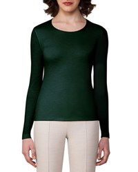 Akris Cashmere Silk Double Layer Long Sleeve T Shirt Forest