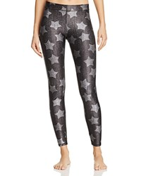 Terez Denim Star Print Leggings Black