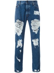 Palm Angels Ripped Skinny Jeans Blue