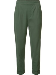 Vince Straight Cropped Trousers Green