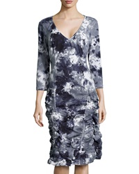 Xcvi Fleur Ruched Skirt Tie Dye Dress Blue Gray