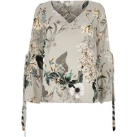 River Island Womens Grey Floral Print Cross Front Top