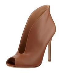 Gianvito Rossi 100Mm Leather Peep Toe U Sha Tan
