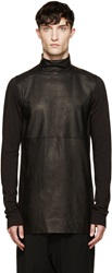 Rick Owens Black Leather And Jersey Tabard Tunic