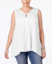 Styleandco. Style And Co. Plus Size V Neck Sleeveless Handkerchief Hem Top Only At Macy's Bright White