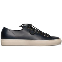 Buttero Navy Leather Tanino Low Profile Sneakers Blue