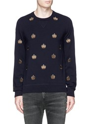 Dolce And Gabbana Crown Embroidery Cashmere Sweater Blue