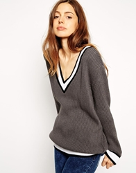 Asos Cricket Jumper With V Neck And Tipping Grey