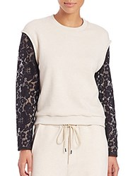 3.1 Phillip Lim French Terry Lace Sleeve Sweatshirt Oatmeal Multi