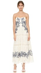 Marchesa Strapless Tea Length Dress Ivory