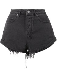 Ksubi Frayed Denim Shorts Women Cotton 24 Black