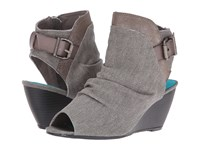 Blowfish Bestie Steel Grey Rancher Canvas Pewter Asteroid Steel Grey Dyecut Women's Wedge Shoes Gray