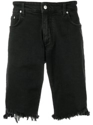 Represent Frayed Denim Shorts Black