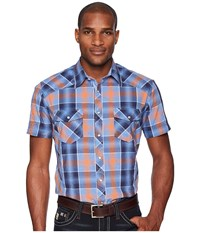 Rock And Roll Cowboy Plaid Short Sleeve Snap B1s5724 Orange Short Sleeve Button Up