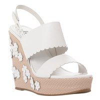 Dune Kensington Flower Applique Wedge Sandals White