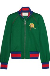 Gucci Appliqued Satin Jersey Bomber Jacket Green