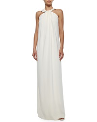 St. John Collection Halter Front Crepe Cady Gown Cream