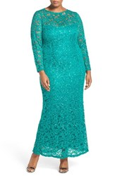 Marina Plus Size Women's Illusion Yoke And Long Sleeve Lace Gown Green